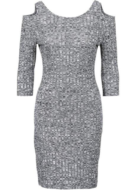 Klänning i stickad design svart vit beed9f4da6ce7