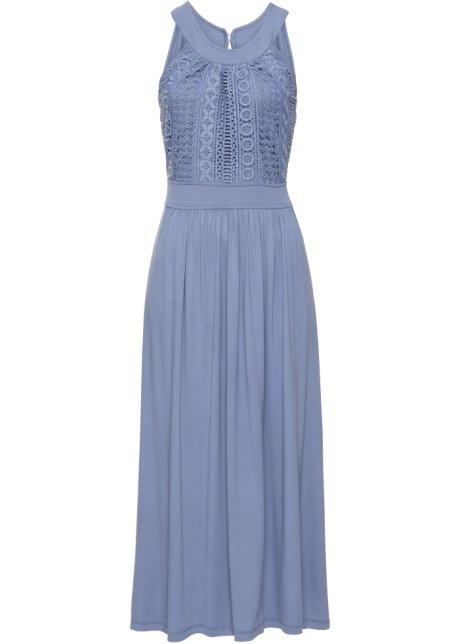 Maxiklänning i jersey med spets ljusblå - BODYFLIRT - bonprix.se bae4b7351d150