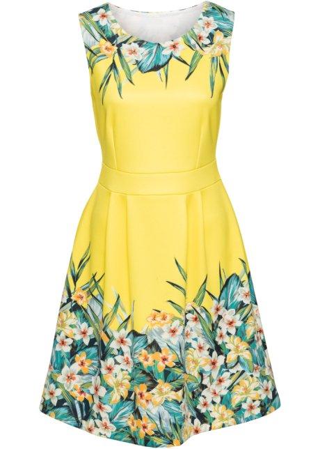 b226086d8dfe Klänning med blommönster gul/grön, blommig - BODYFLIRT boutique ...