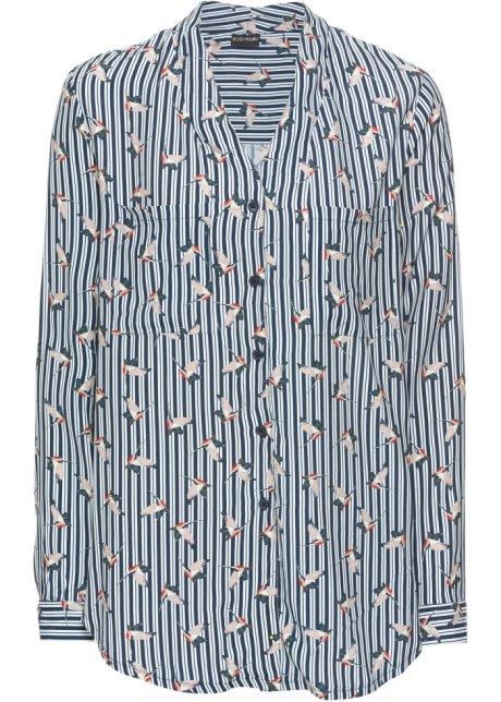 Blus med öppning i ryggen blå 87afe5a11816d