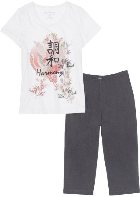bfa2259c4cab Pyjamas med capribyxor ullvit/skiffergrå, med tryck - bpc selection ...