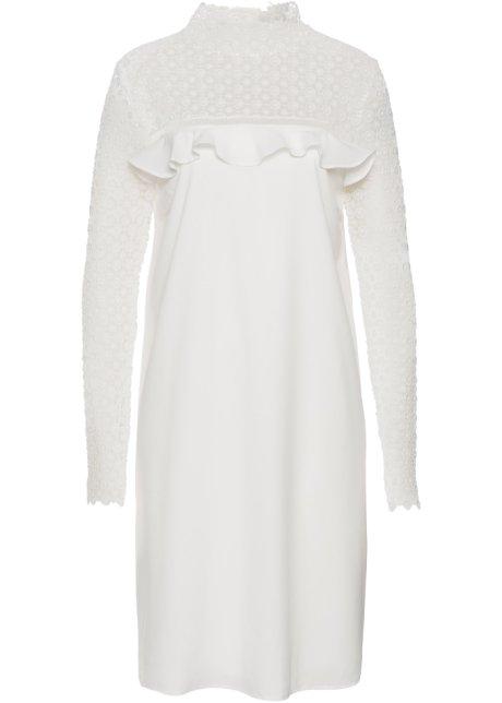 Klänning med volang och spets vit - BODYFLIRT boutique köp online ... 0843e20e8ab53