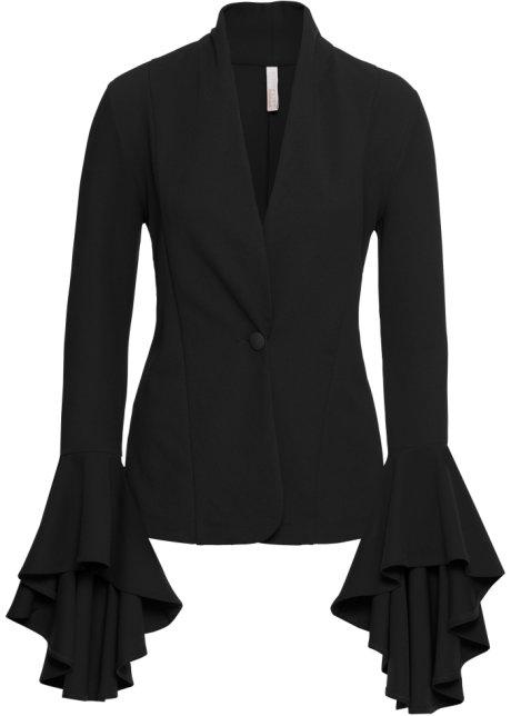 Kavaj med volangärmar svart - BODYFLIRT boutique - bonprix.se a66a3a2726f7a