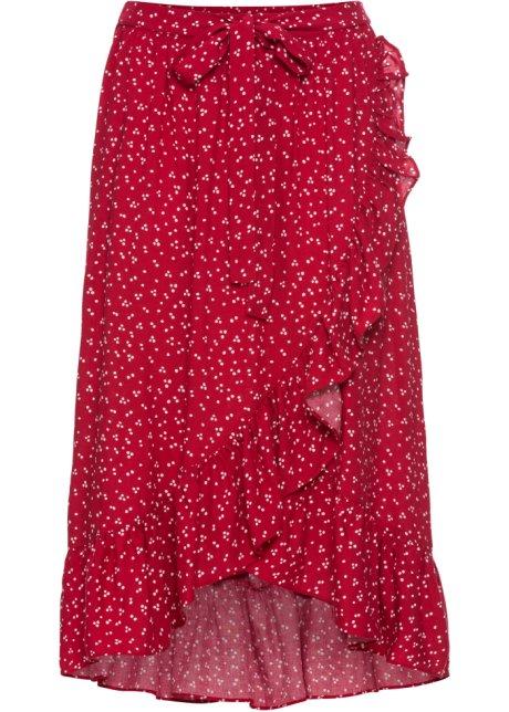 Kjol med omlottlook röd ullvit 586132ec36390