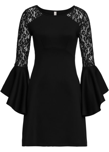 Klänning med volang och spets svart - BODYFLIRT boutique köp online ... 14bbed6053c27
