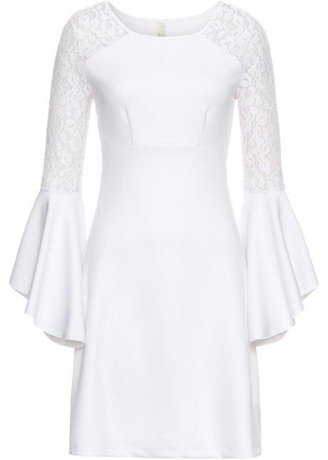 Klänning med volang och spets vit - Dam - BODYFLIRT boutique ... 0a618bd3e0733