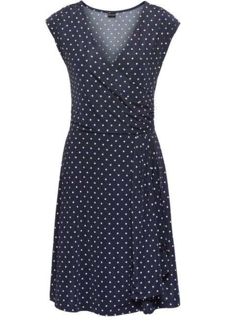 Prickig klänning mörkblå benvit - Dam - BODYFLIRT - bonprix.se 067078b4b1824