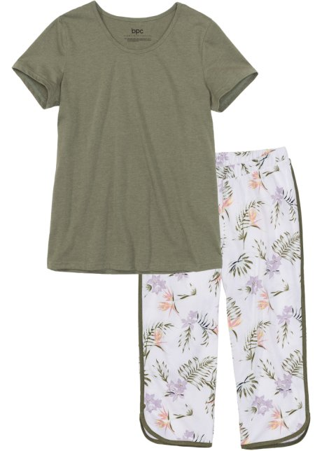 Pyjamas med capribyxor olivgrön vit af7767b37336c