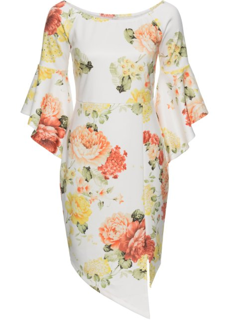 00319f160ee1 Blommig klänning vit/orange/gul - BODYFLIRT boutique köp online ...