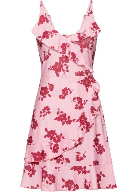 Klänning med volang röd pink c3747f7c09b11