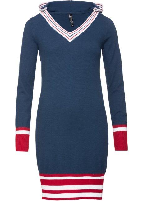 Stickad klänning djupblå aftonröd vit ceb57a489229c