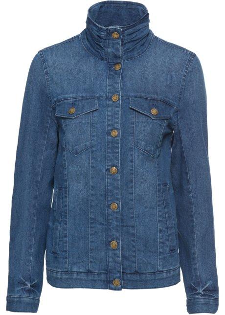 Bekväm stretchig jeansjacka, 34 ärm mörkblå John Baner