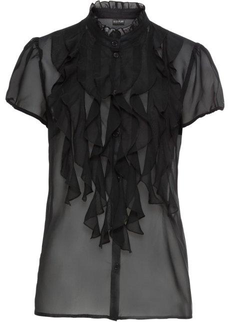Blus med krås svart - BODYFLIRT beställa online - bonprix.se e6b2f3e0c0212