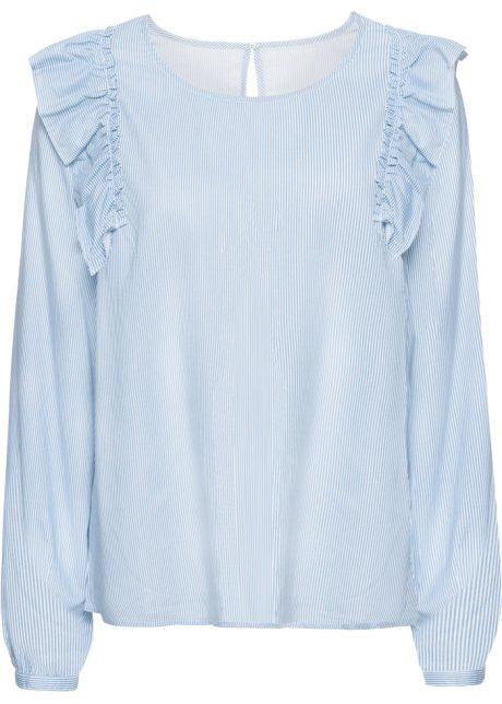 Blus med volanger blå vit 6723d2dc462a1