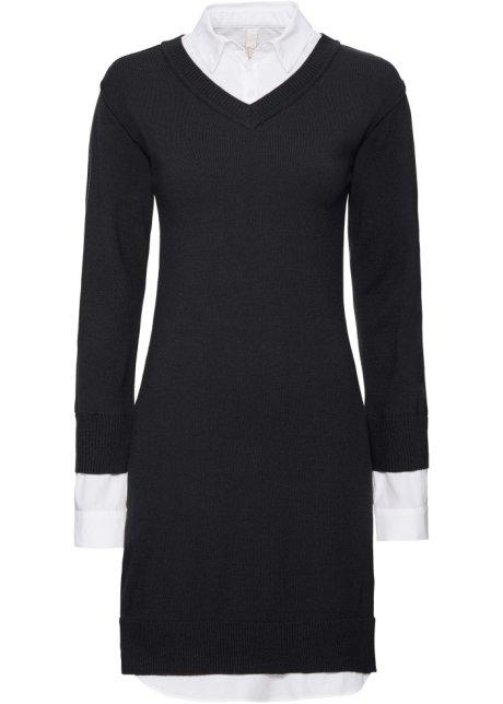 6423d9782c97 Stickad klänning svart/vit - Dam - BODYFLIRT boutique - bonprix.se
