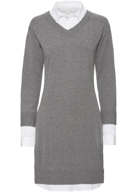 094a89244530 Stickad klänning grå/vit - Dam - BODYFLIRT boutique - bonprix.se