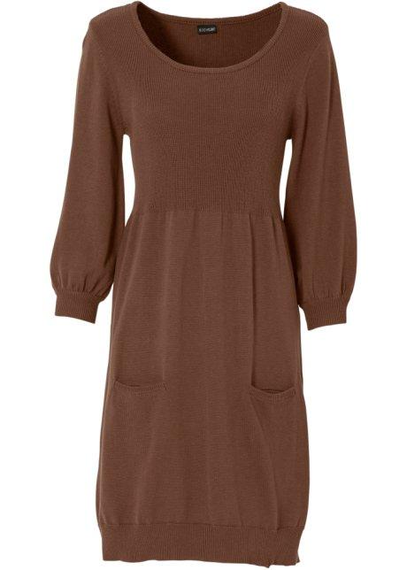 f273547a8d21 Stickad klänning brun - Dam - BODYFLIRT - bonprix.se