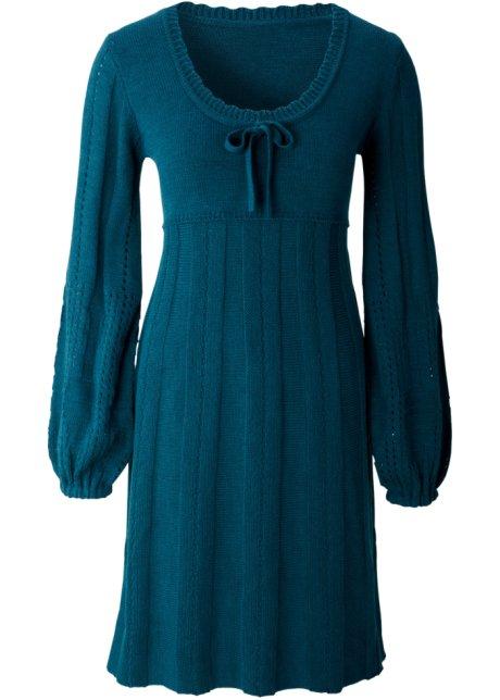 00d15369f399 Stickad klänning petrolblå - BODYFLIRT - bonprix.se