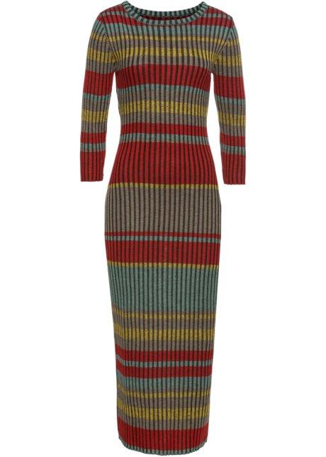 071e43a52d35 Stickad klänning röd/grå - Dam - BODYFLIRT boutique - bonprix.se
