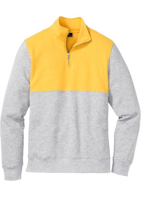 varm försäljning online fabriksgiltig bäst giltig Sweatshirt med dragkedja, normal passform solgul/ljusgråmelerad ...