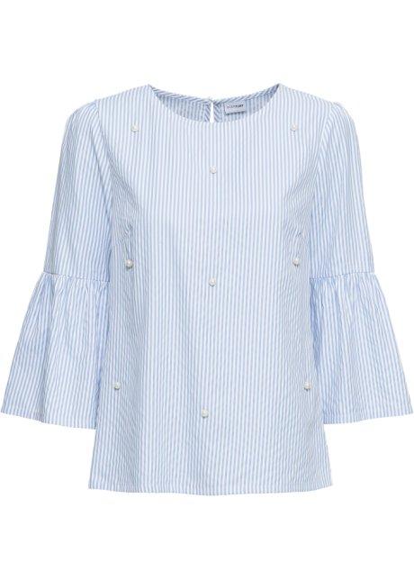 Randig blus med pärlor blå vit 118f7612d4cfd
