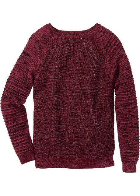 d7a3de4db2b8 Strukturstickad tröja, normal passform vinröd, melerad - RAINBOW ...