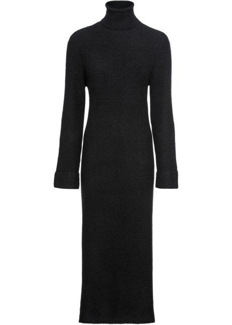 a7853f5ed7ae Stickad klänning med polokrage svart - RAINBOW köp online - bonprix.se