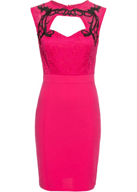 Klänning med spetskrage pink svart - Dam - BODYFLIRT boutique ... a2960d4841fc5