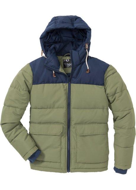 Quiltad vinterjacka med kapuschong, normal passform