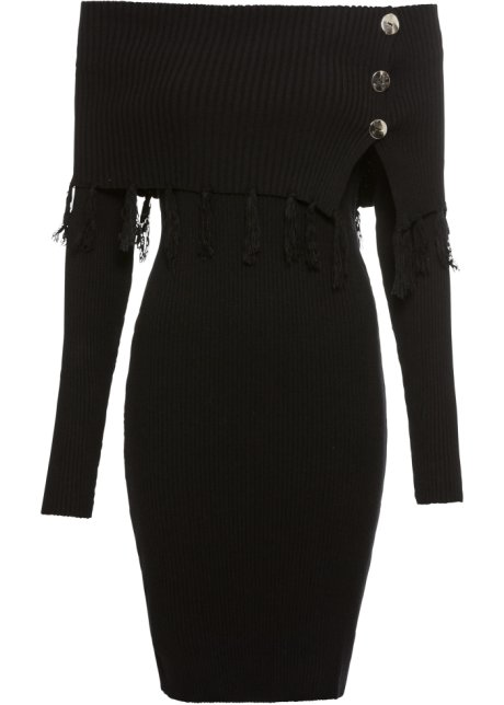 1a2b068050de Stickad klänning med singoallaringning svart - BODYFLIRT boutique ...