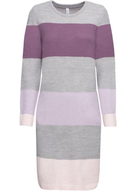 6cd3e0fa34c8 Stickad klänning med fickor lila, randig - RAINBOW - bonprix.se