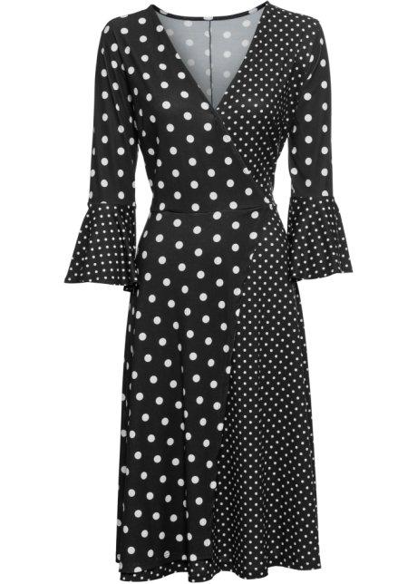 a4d8b0f17a9a Prickig klänning med volanger svart/vit, prickig - Dam - BODYFLIRT ...