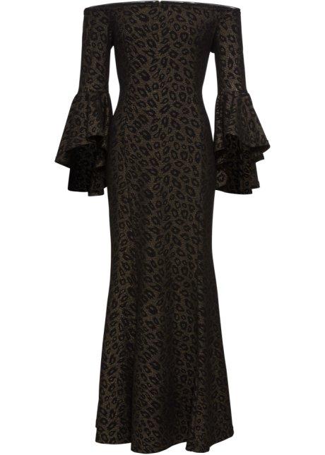 Aftonklänning med glittrande leopardmönster svart guld ... 61c22e1139e7c