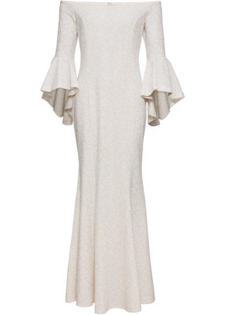 Aftonklänning med glittrande leopardmönster vit koppar ... 8acccf23a6398