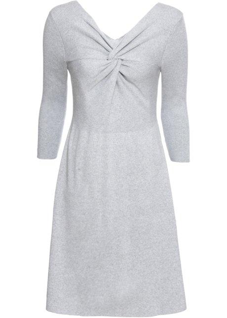 f376f2bd21ad Stickad klänning med knut grå - BODYFLIRT - bonprix.se