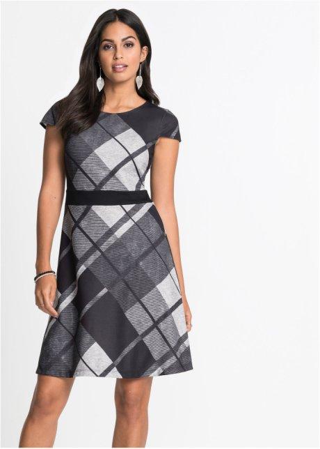 Rutig klänning svartgrå, rutig BODYFLIRT köp online