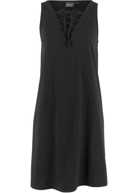 Trikåklänning med snörning svart - Dam - bpc bonprix collection ... 224f612d05e7d