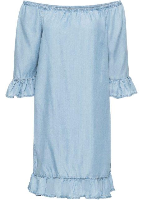 d0b56e57471e Klänning i TENCEL® med volang blue bleached - BODYFLIRT - bonprix.se