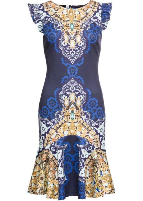 Mönstrad klänning mörkblå, mönstrad BODYFLIRT boutique