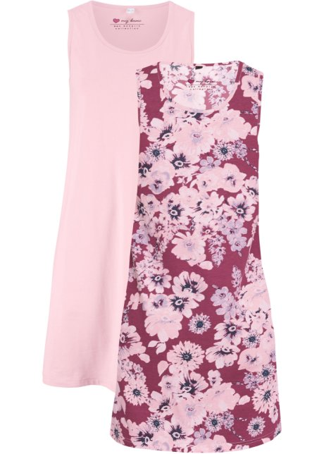 Jerseyklänning (2pack) flamingorosa + aprikos bpc bonprix