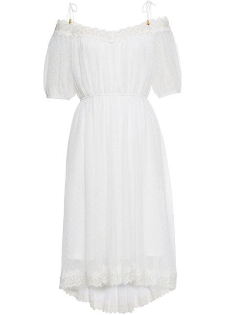 Cold shoulder klänning med spets vit Dam bonprix.se