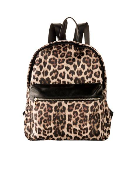 leopardmönstrad ryggsäck