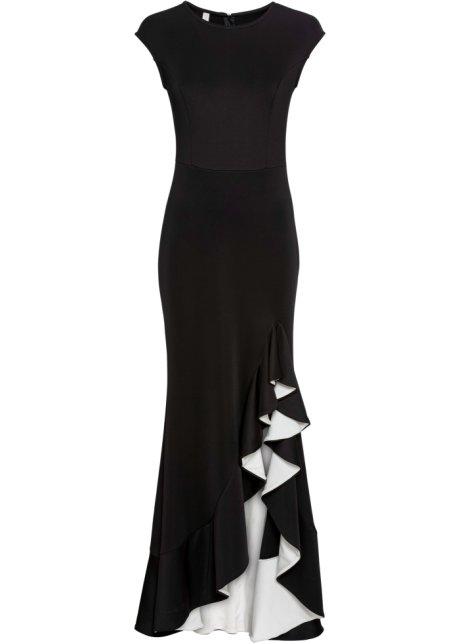 Klänning med volang svartvit BODYFLIRT boutique bonprix.se
