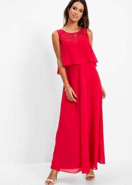 Långklänning med spets röd Dam bpc selection premium