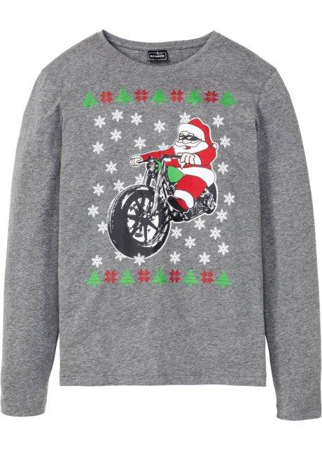 Långärmad tröja med julmotiv, smal passform