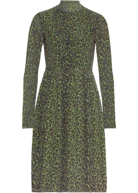 Långärmad klänning grön, leopardmönstrad BODYFLIRT