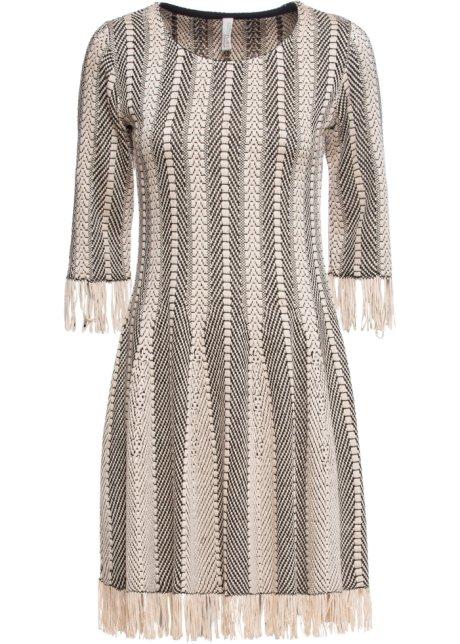 Stickad klänning med fransar beigesvart BODYFLIRT