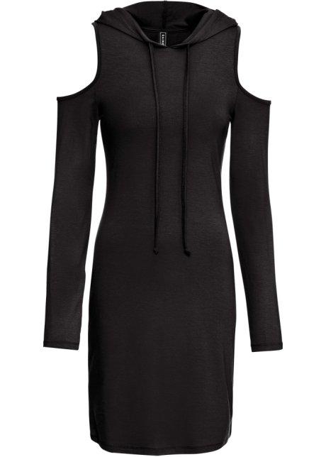 Klänning med rynkeffekt och lång ärm, svart