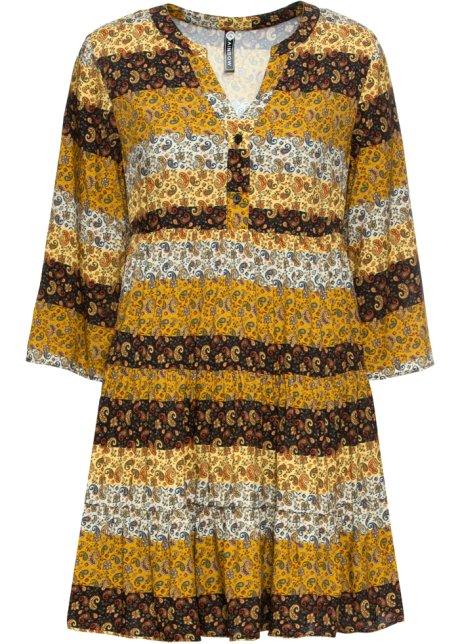 Klänning gulbrunvit, paisleymönstrad RAINBOW bonprix.se