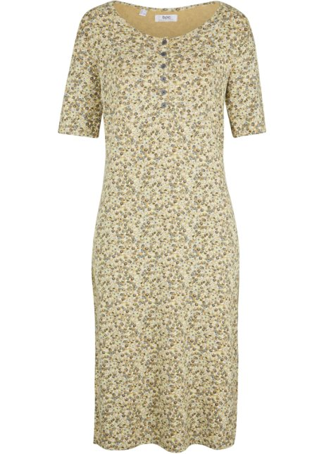 Klänning med stråveck och halvlång ärm sandstenneongul
